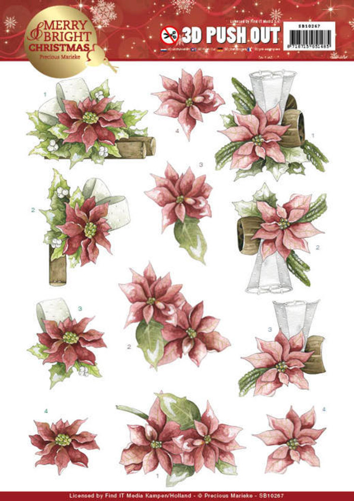 3D Die-Cut Sheet Precious Marieke  - Merry and Bright Christmas - Poinsettia in Red SB10267