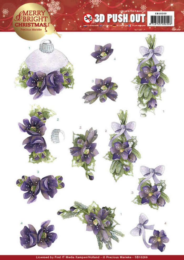 3D Die-Cut Sheet Precious Marieke  - Merry and Bright Christmas - Bouquets in Purple SB10269