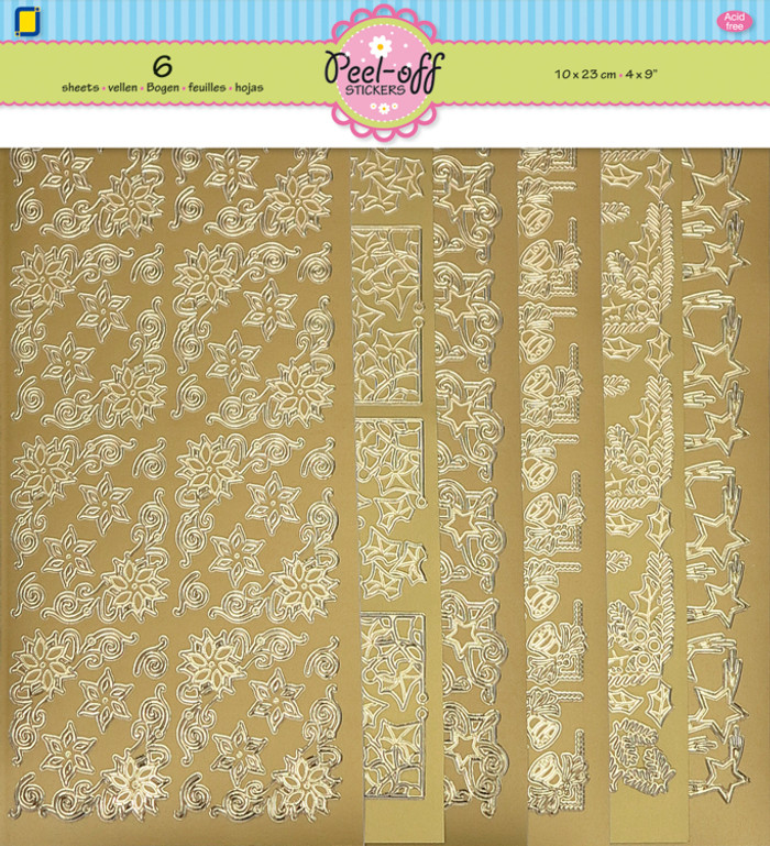Peel Off Stickers Christmas Corners 6 Pack - Gold