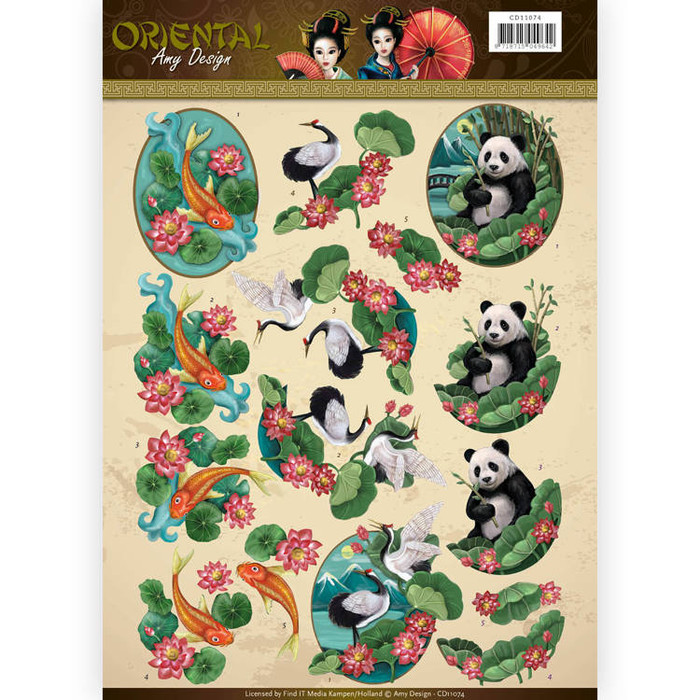 3D  Sheet  Amy Design  - Oriental - Animals CD11074