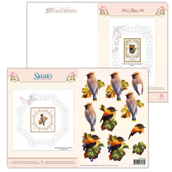 Ann's Paper Art 3D Card Embroidery Pattern Sheet #23 with Ann & Sjaak
