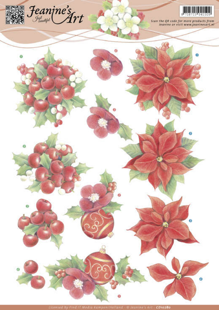 3D Cutting Sheet Jeanines Art - Red Christmas  CD10780