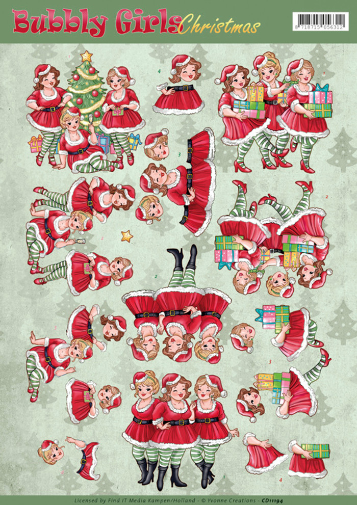 3D Sheet Yvonne Creations - Bubbly Girls - Christmas Dresses  CD11194