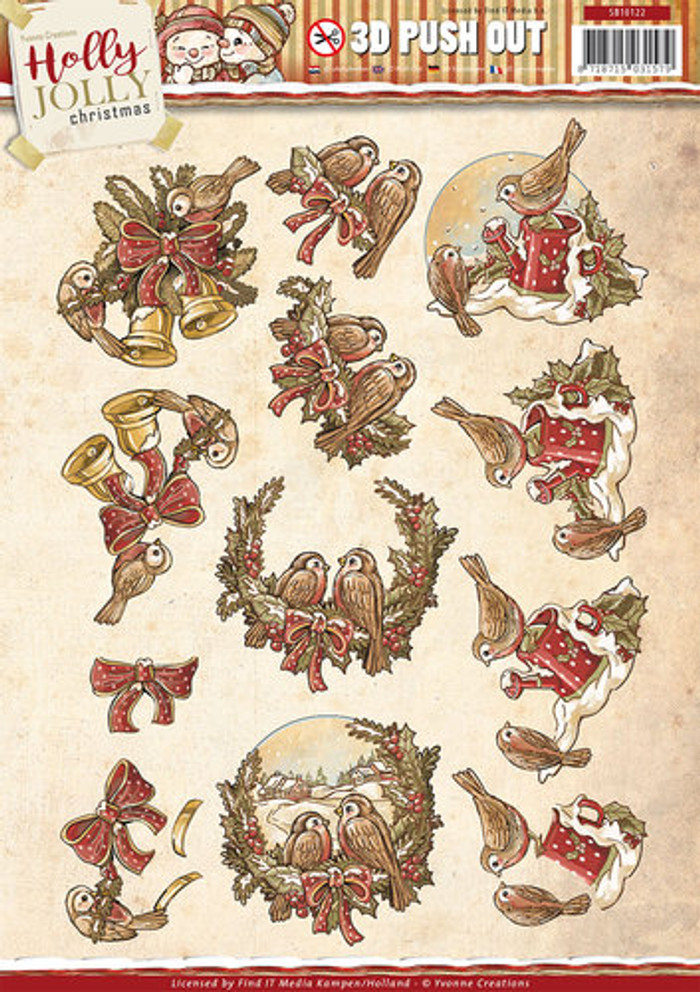 3D Die-Cut Sheet  Yvonne Creations  - Holly Jolly - Birds SB10122
