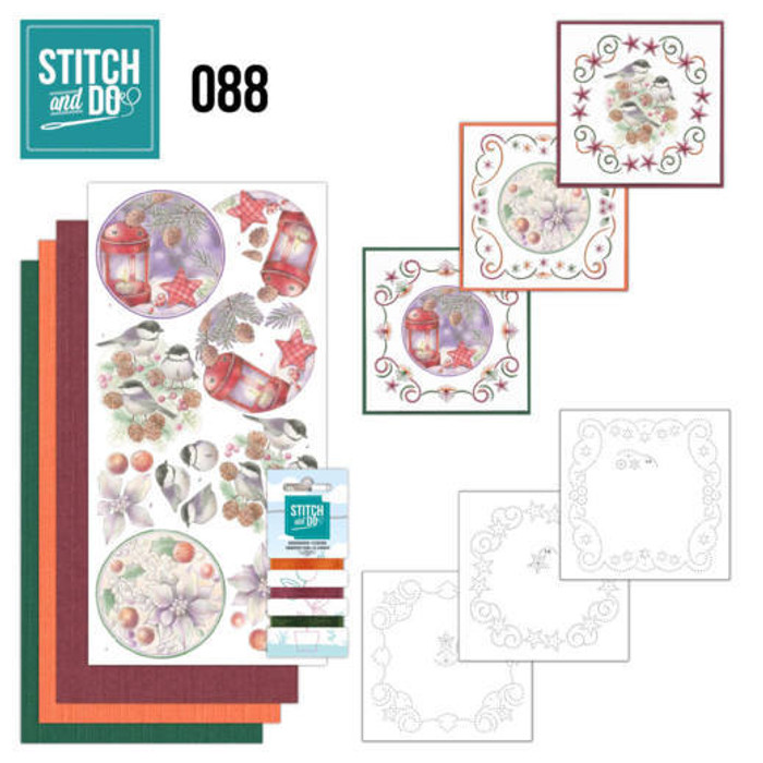Stitch and Do 88 - Card Embroidery Kit - Christmas Florals
