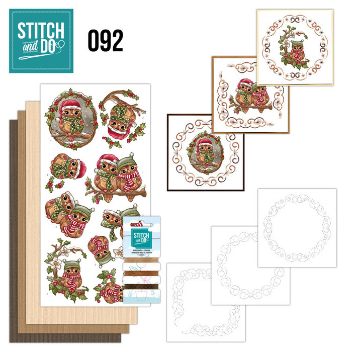 Stitch and Do 92 - Card Embroidery Kit - Christmas Owls
