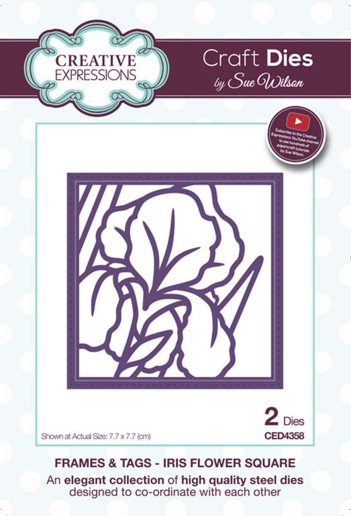 ue Wilson Frames & Tags Collection Die - Iris Flower Square CED4358