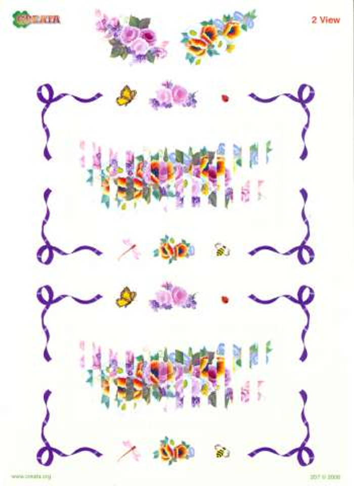 3D Cutting Sheet - Creata 2 View Painted Flowers 207