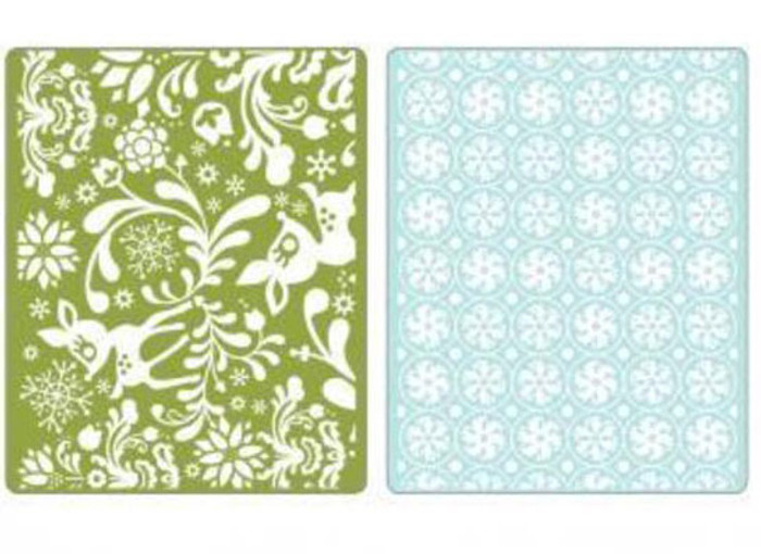 Sizzix Textured Impressions Embossing Folder 2 Pack - DEARLY & FROST SET