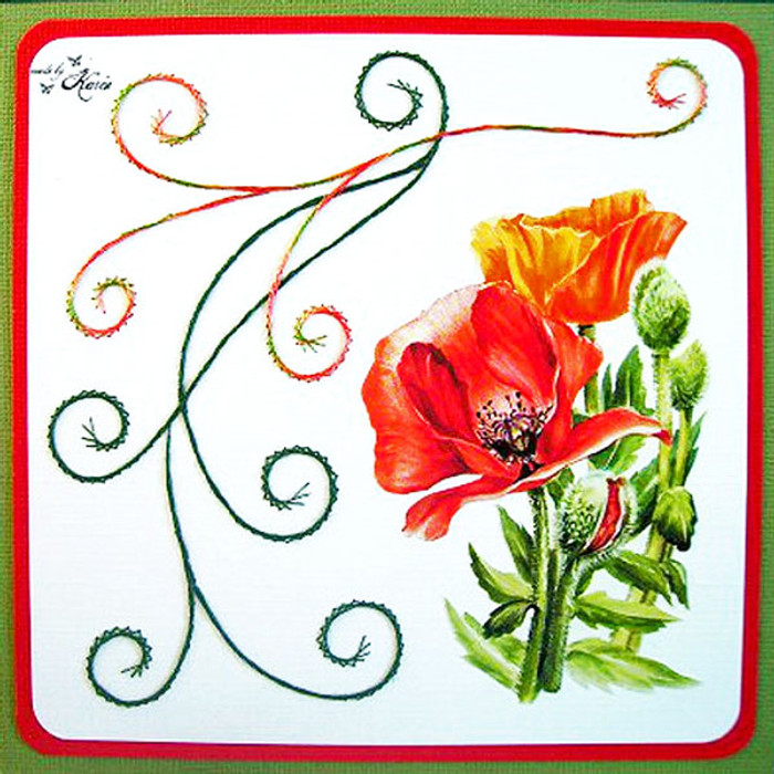 Karin's Creations Card Stitching e-Pattern - Beautiful Poppy KC004e