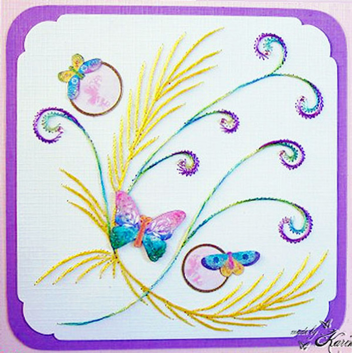 Karin's Creations Card Stitching e-Pattern - Happy Butterflies KC011e