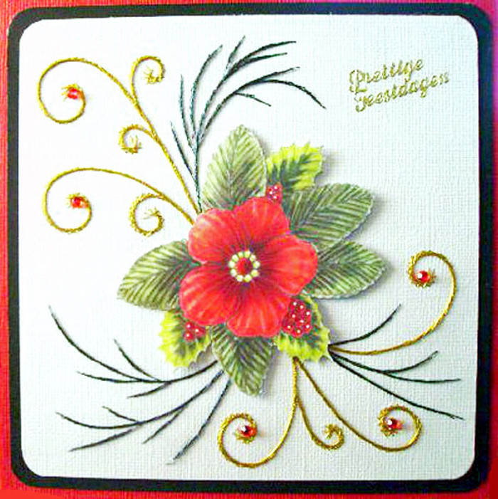 Karin's Creations Card Stitching e-Pattern - X-mas Rose KC031e