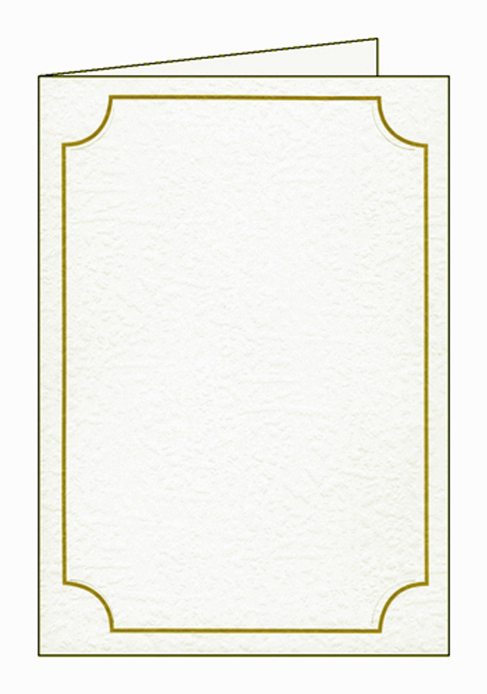 "5 x 7"" Photo Slotted Textured Cards 280gsm & Envelopes  - White with Gold Border Pk 10 (holds 6"" x 4"" photo)"
