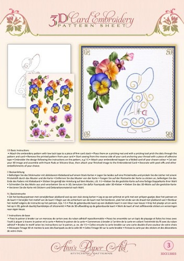 Ann's Paper Art 3D Card Embroidery Pattern Sheet - Summer Pansies  CE13003