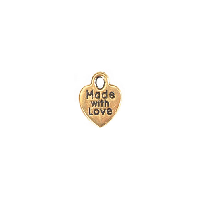 Charms - Made with Love - Gold - 20 Pieces