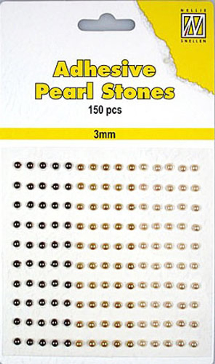Nellie Snellen Self-Adhesive Pearls - 150 x 3mm - 3 Shades of Brown