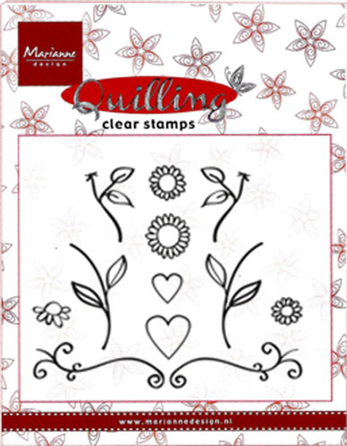 Marianne Design Quilling Clear Stamp - Flowers & Hearts