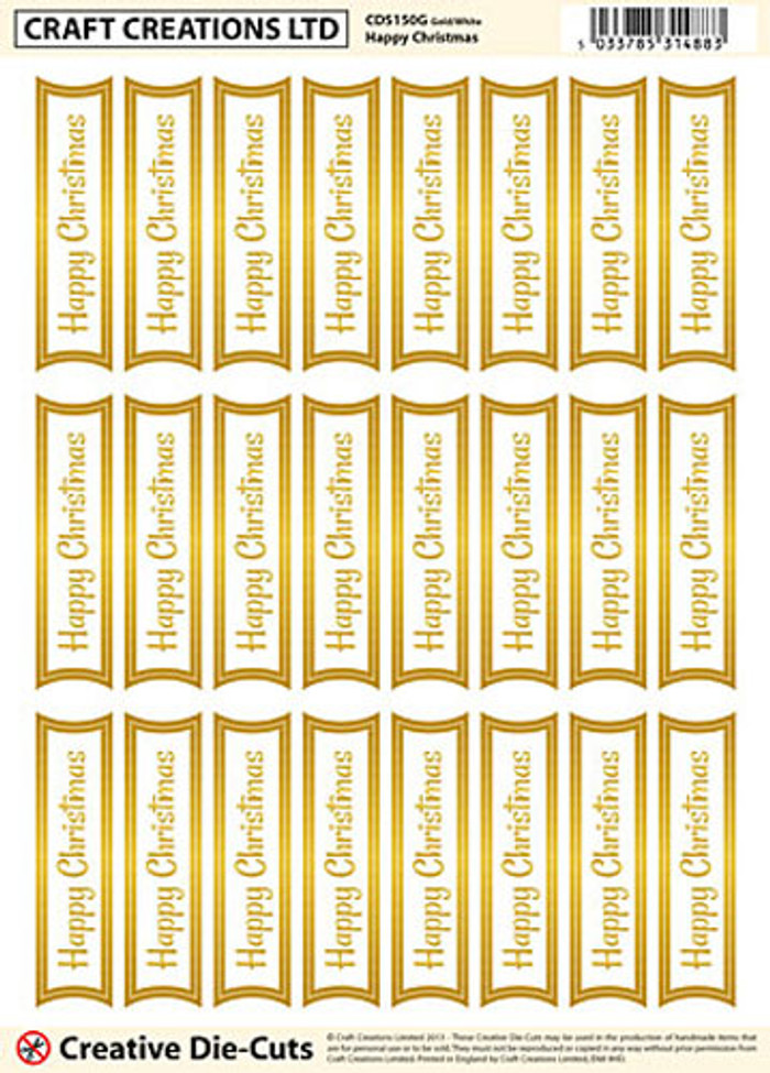 Craft Creations Creative Die-Cut Banners - Happy Christmas Gold/White
