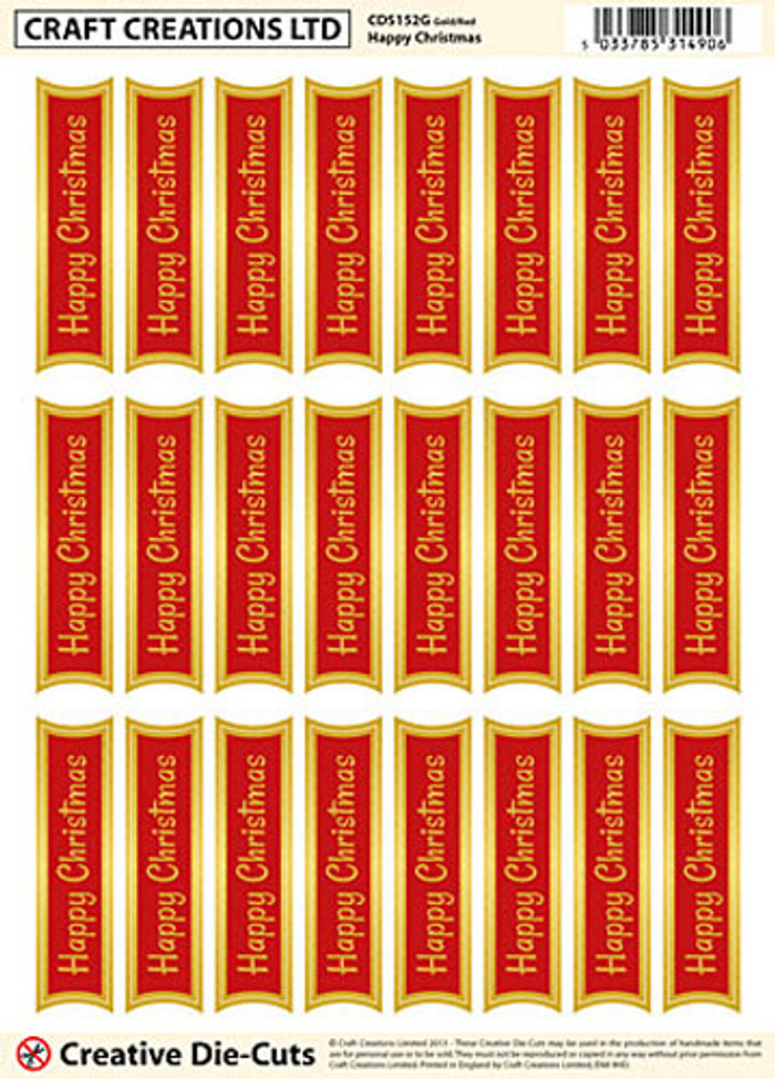 Craft Creations Creative Die-Cut Banners - Happy Christmas Gold/Red