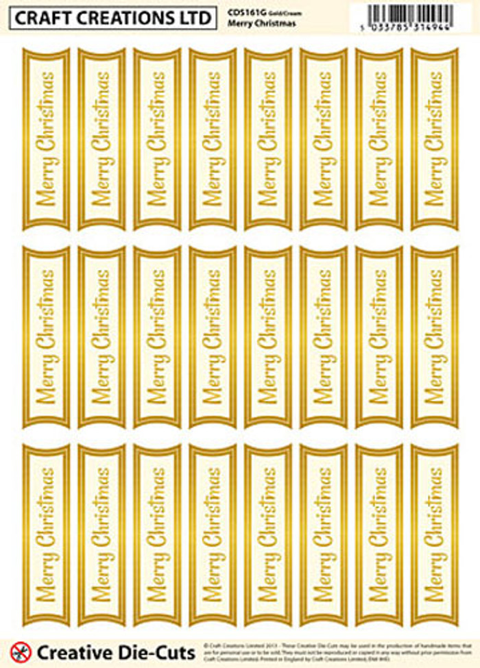 Craft Creations Creative Die-Cut Banners - Merry Christmas Gold/Cream
