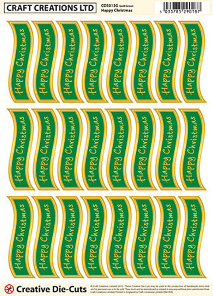 Craft Creations Creative Die-Cut Banners Wavy - Happy Christmas Gold/Green