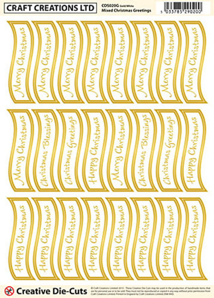 Craft Creations Creative Die-Cut Banners Wavy - Mixed Christmas Greetings Gold/White