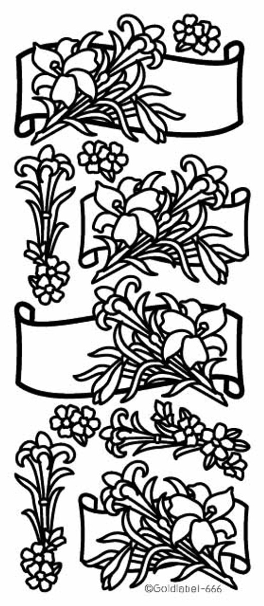 Craft Creations Peel-Off - Lily Floral Scrolls SILVER  666