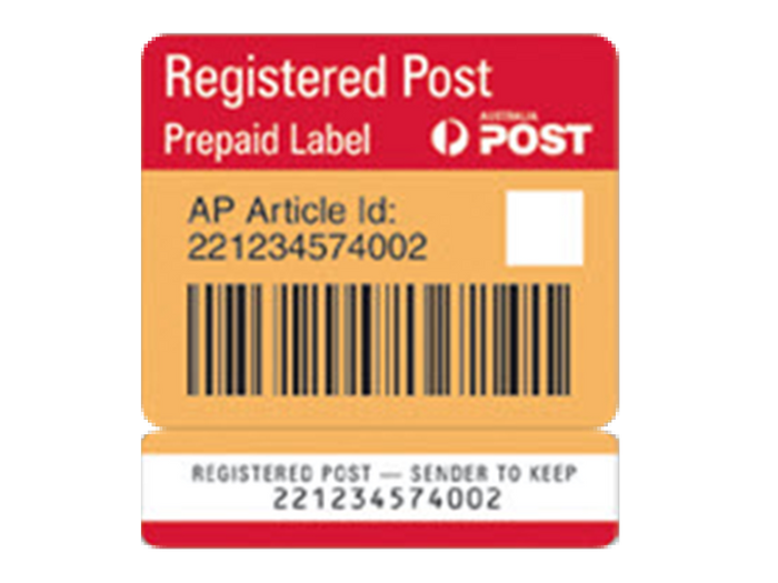 Registered Post (for orders under 250gms in weight -  large letters)