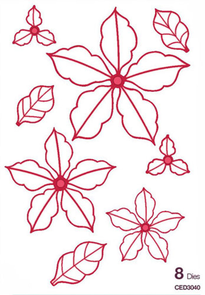 Sue Wilson - The Festive Collection - Classic Poinsettia Open Petals Dies CED3040 - Pre-Order 15% Off
