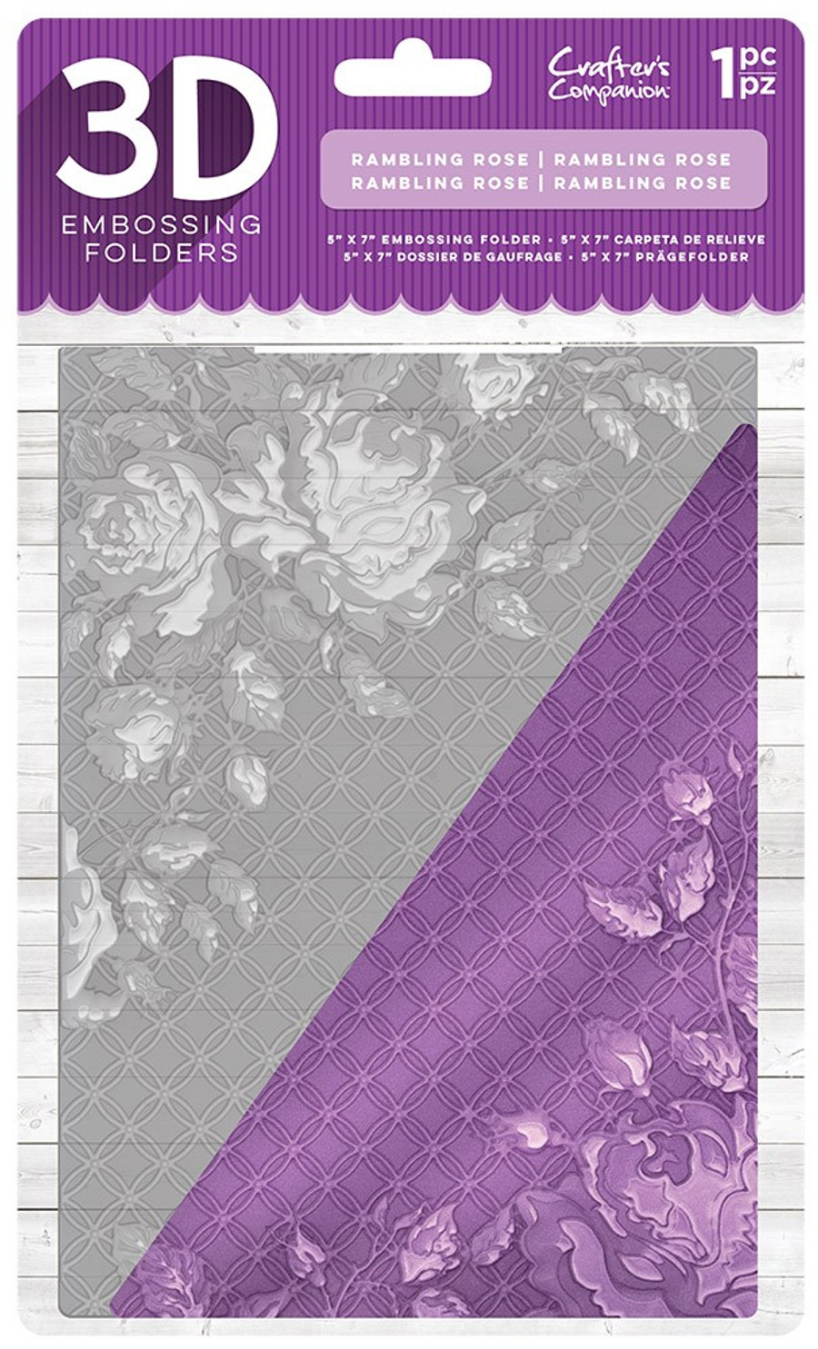 "Crafter's Companion 3D Embossing Folder 5"" x 7""- Rambling Rose"