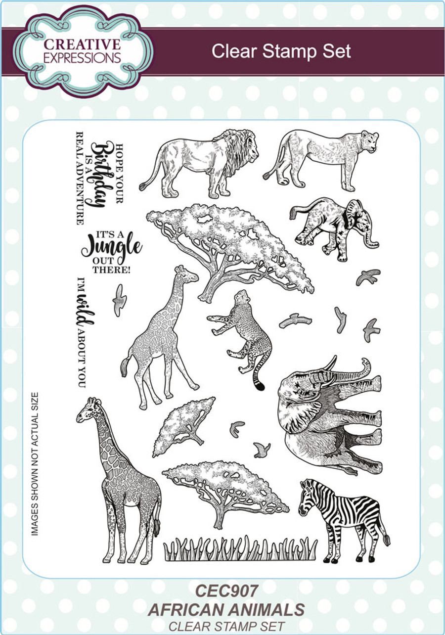 Creative Expressions AFRICAN ANIMALS A5 CLEAR STAMP SET CEC907