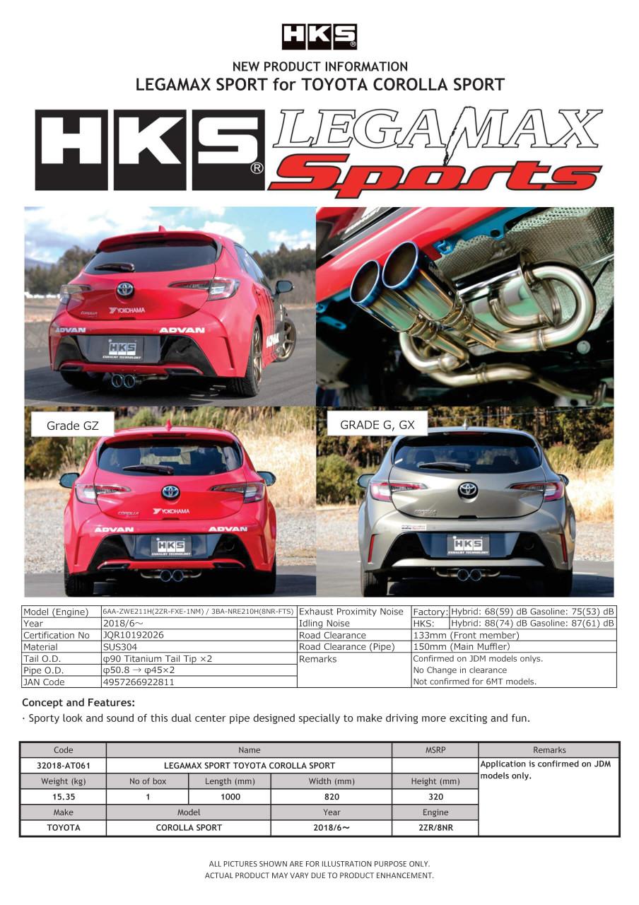 HKS Legamax Sports Cat Back Exhaust Toyota Corolla Hatchback 2019+