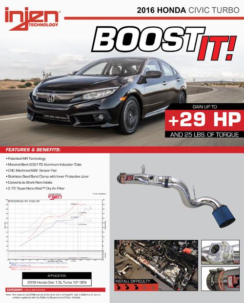 2016+ Honda Civic Turbo 1.5L Injen Cold Air Intake