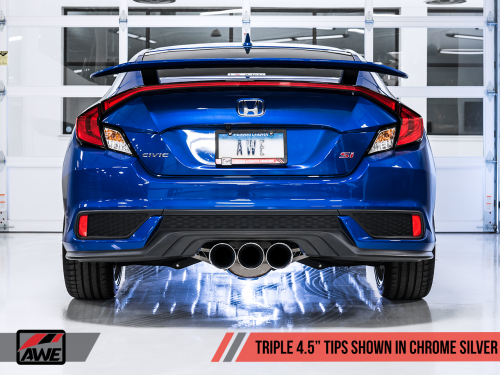 AWE Tuning Touring Edition Exhaust 2017+ Civic Si Coupe / Sedan (includes Front Pipe) - Triple Chrome Silver Tips