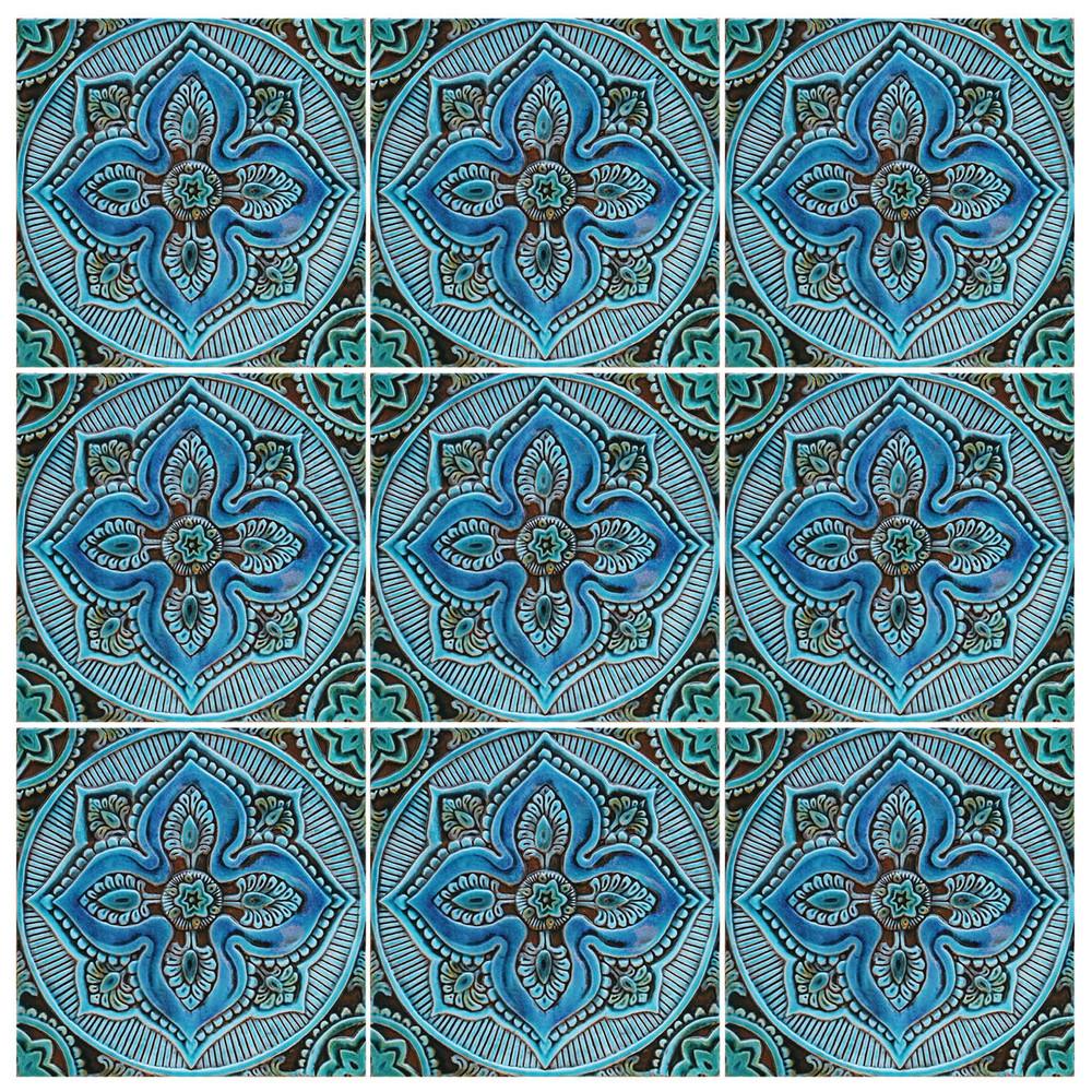 Handmade tile with mandala design.  Decorative tile in turquoise glaze finish.
