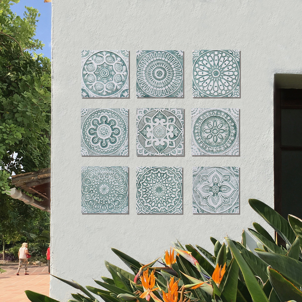 Handmade tile for kitchens, bathrooms and outdoor wall art. Decorative tile handmade in Spain. Relief tile glazed in aqua and white.