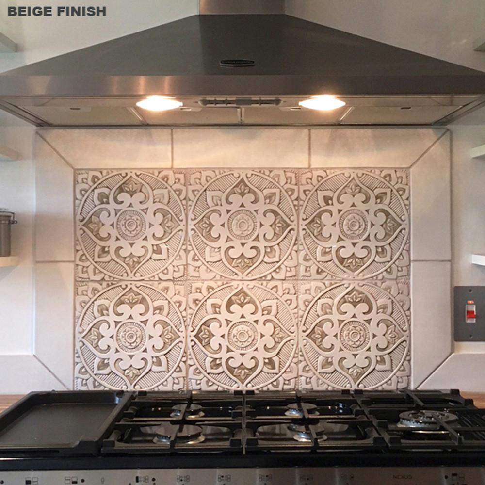 "Handmade Tiles Set4 Grey Mandala [30cm/11.8""]"