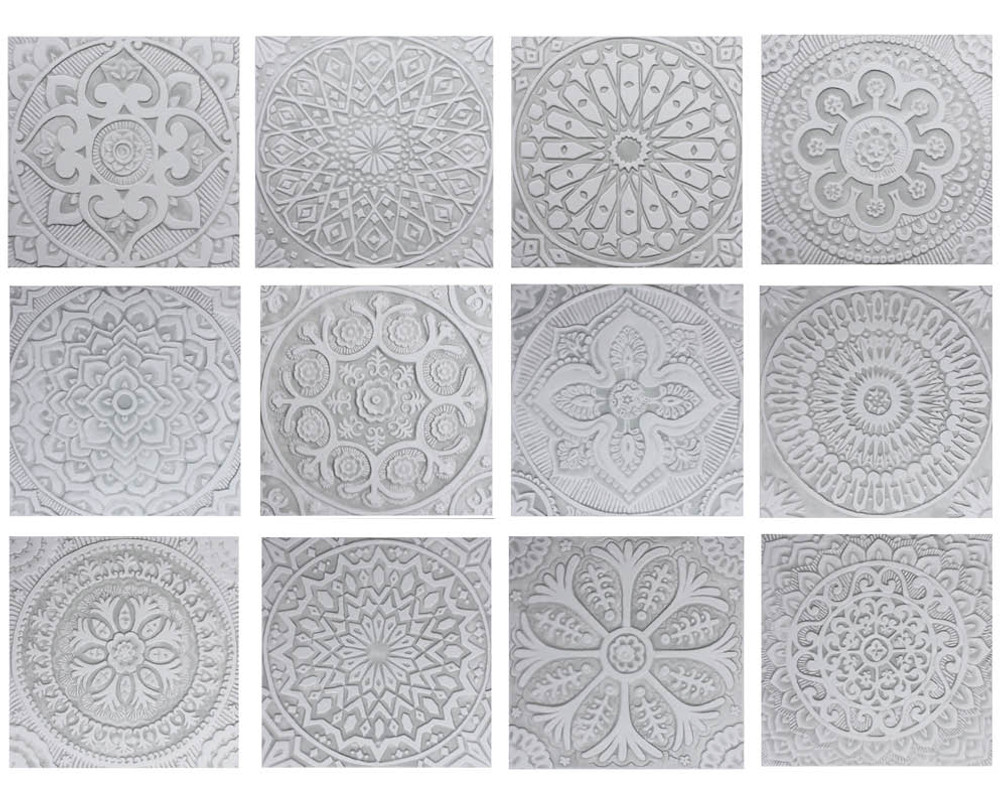 "Handmade Tiles Set6 Grey [30cm/11.8""]"