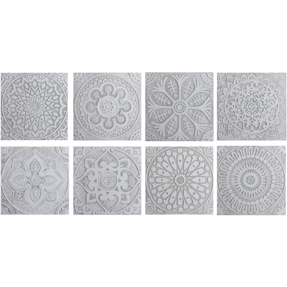 These handmade tiles make wonderful kitchen tiles, bathroom tiles, wall hangings and outdoor wall art.  Grey & white relief tile handmade in Spain.