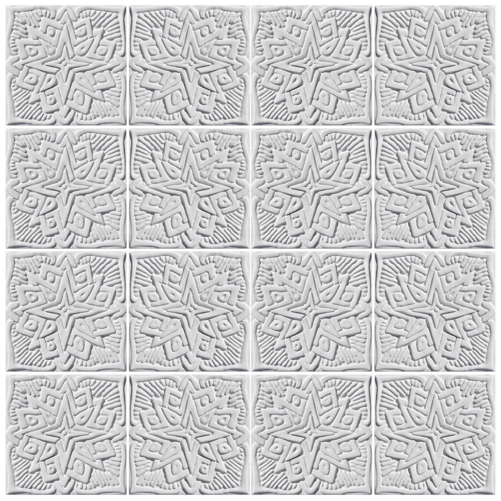 White Relief Moroccan Tile 15cm 2 Handmade Tile By Gvega
