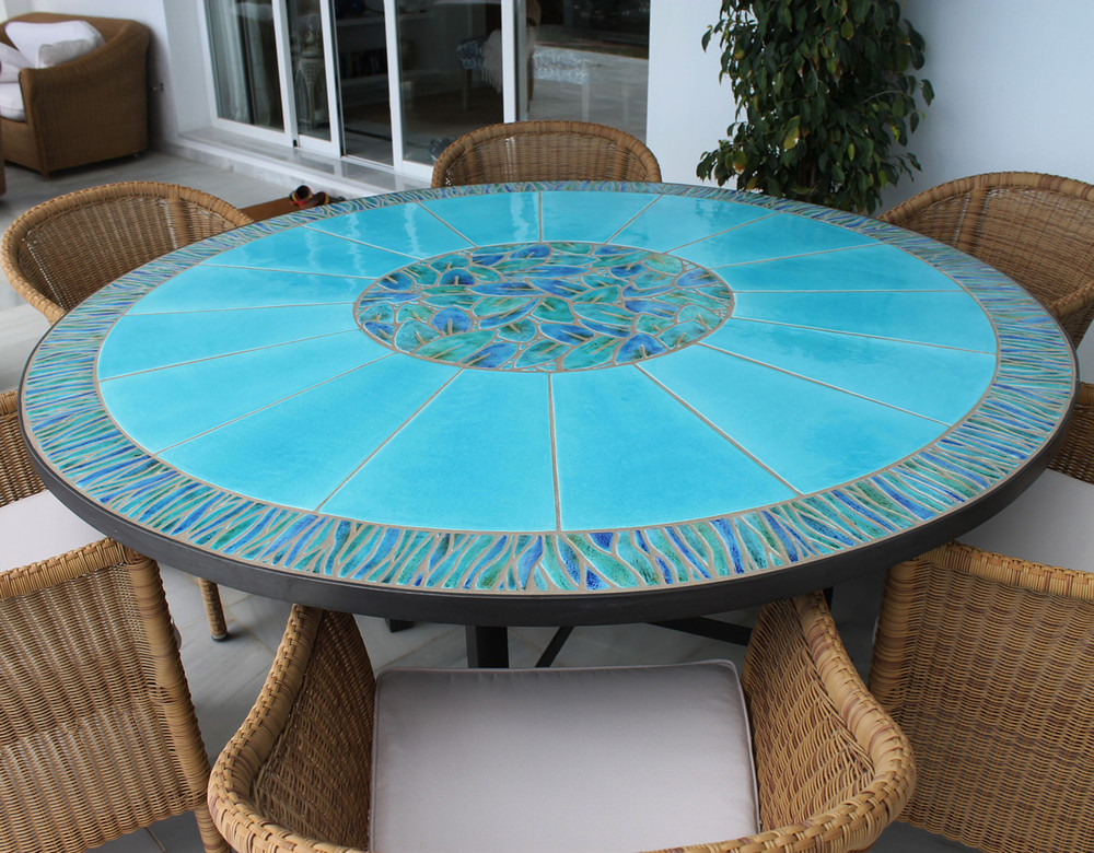 Outdoor Dining Table Mosaic Table Geometric Cross Rectangular Terrace Table