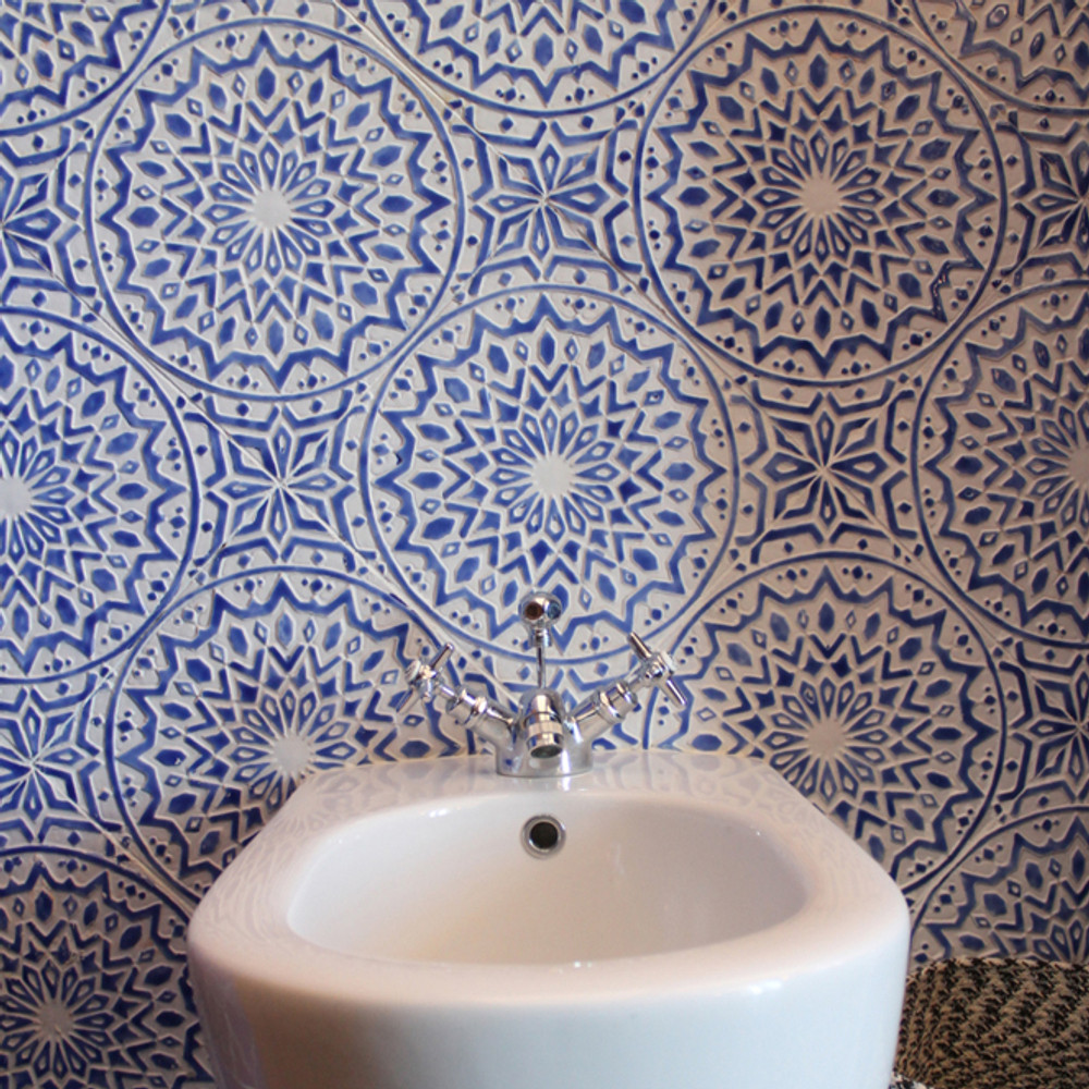 Handmade tiles bathroom Moroccan blue