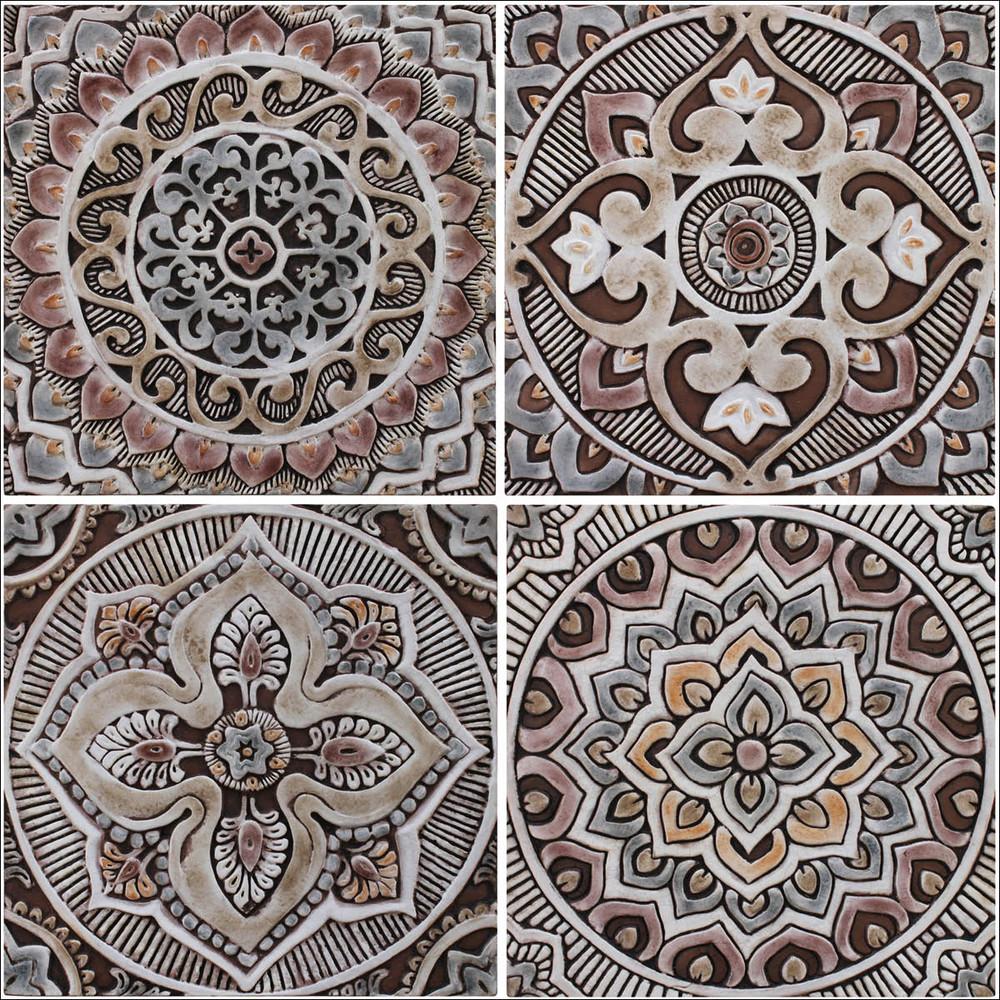 Handmade Tiles matt brown Set2 [30cm/11.8‰Û]