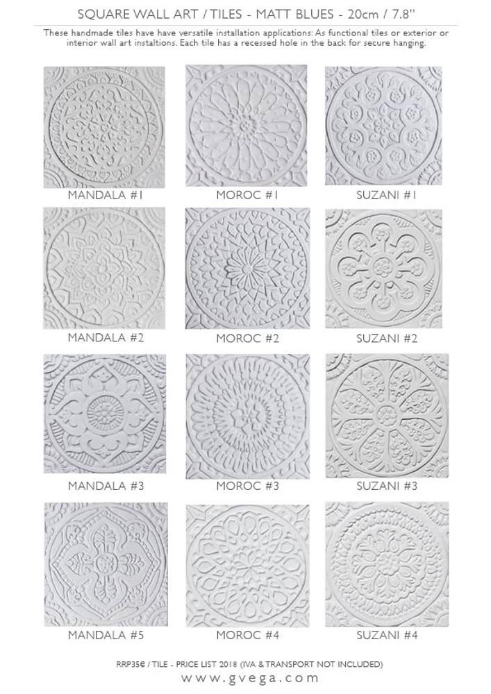 White Relief Tile 20cm Suzani 4 Handmade Tile By Gvega