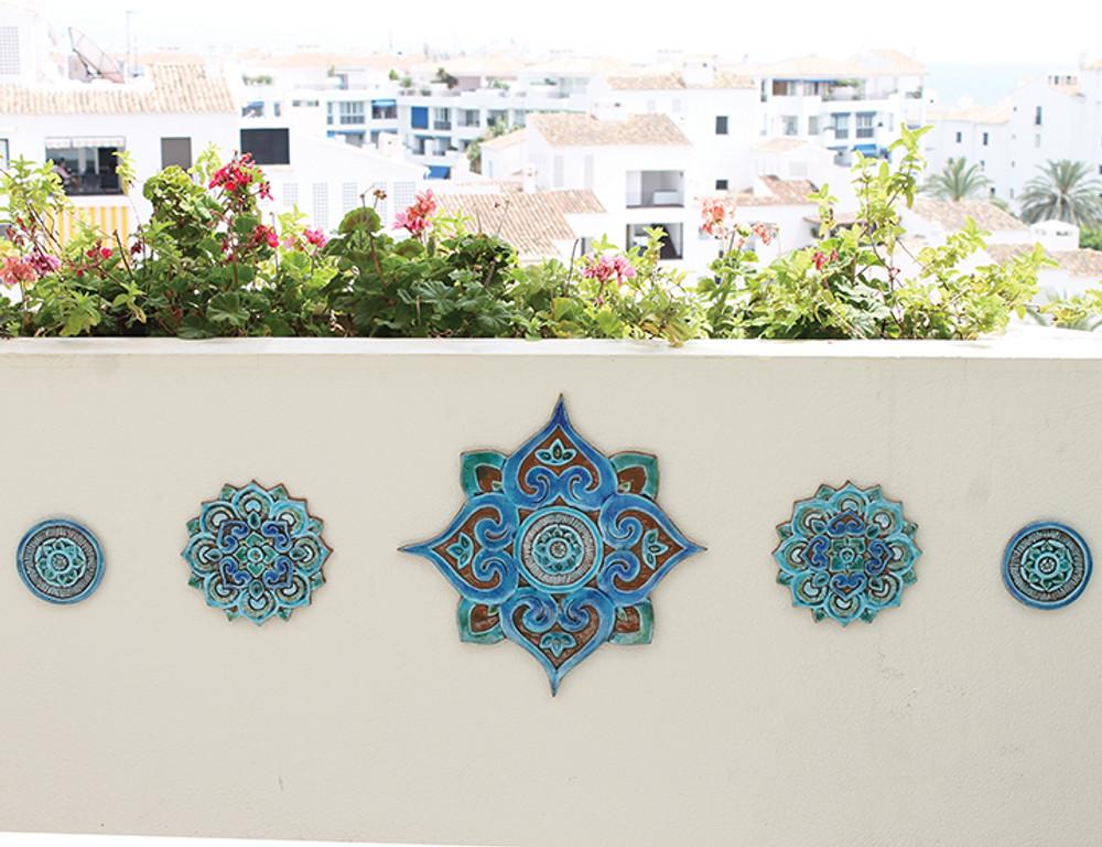 Ceramic wall art circles Mandala #5 Matt blue SET3
