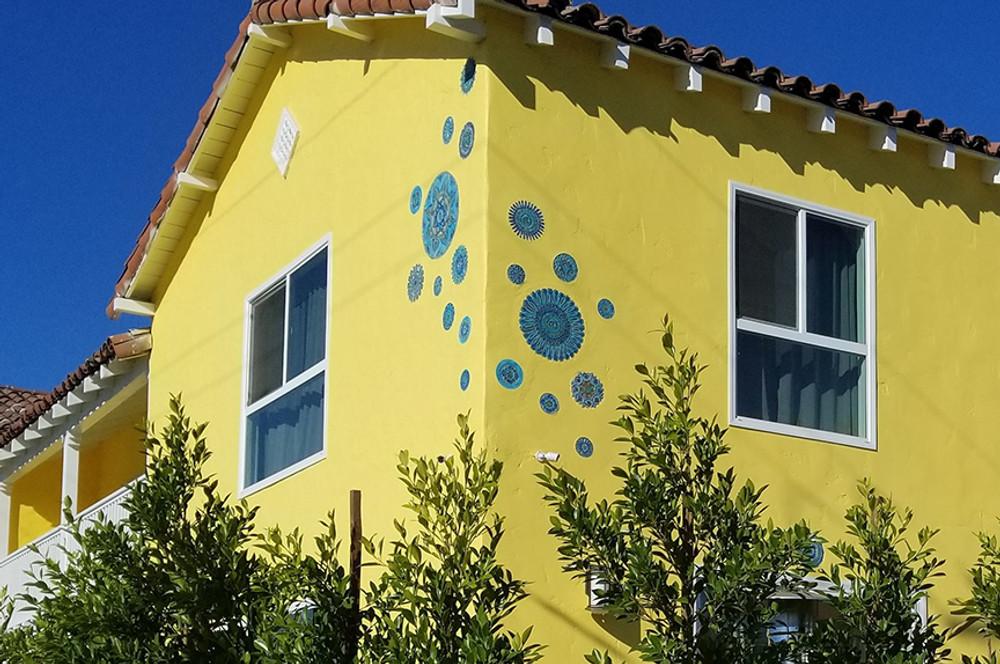 Ceramic wall art circles Moroccan #3 Matt blue SET3