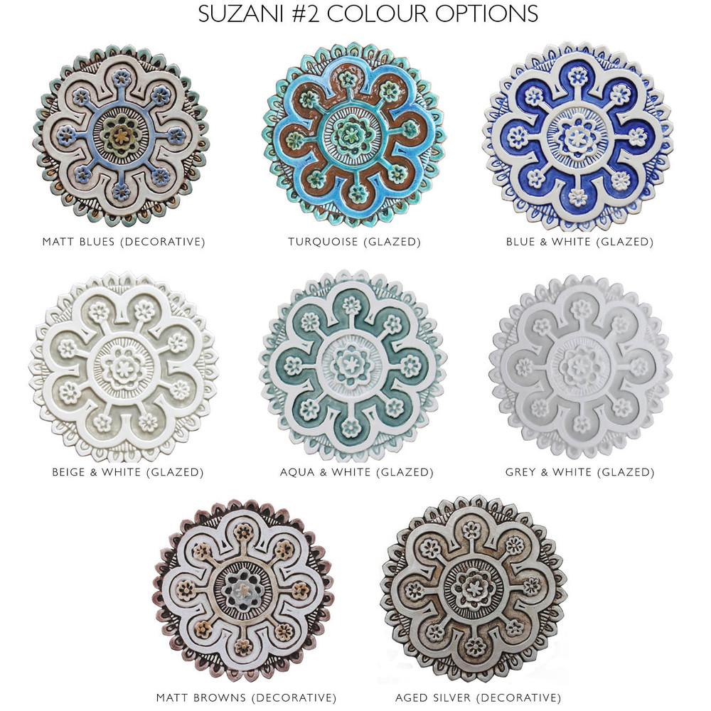 "Ceramic Wall Art Matt blue Suzani #2 [25cm/9.8""]"