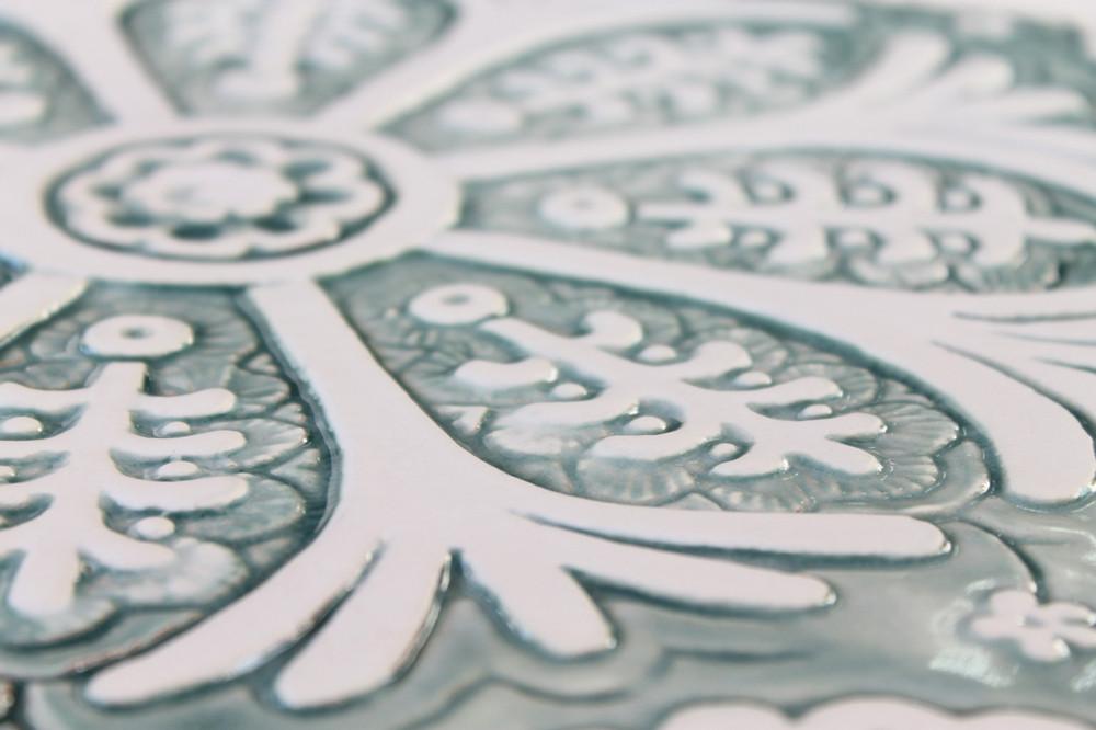 Suzani ceramic wall art #3/R - Aqua           [28.5cm]