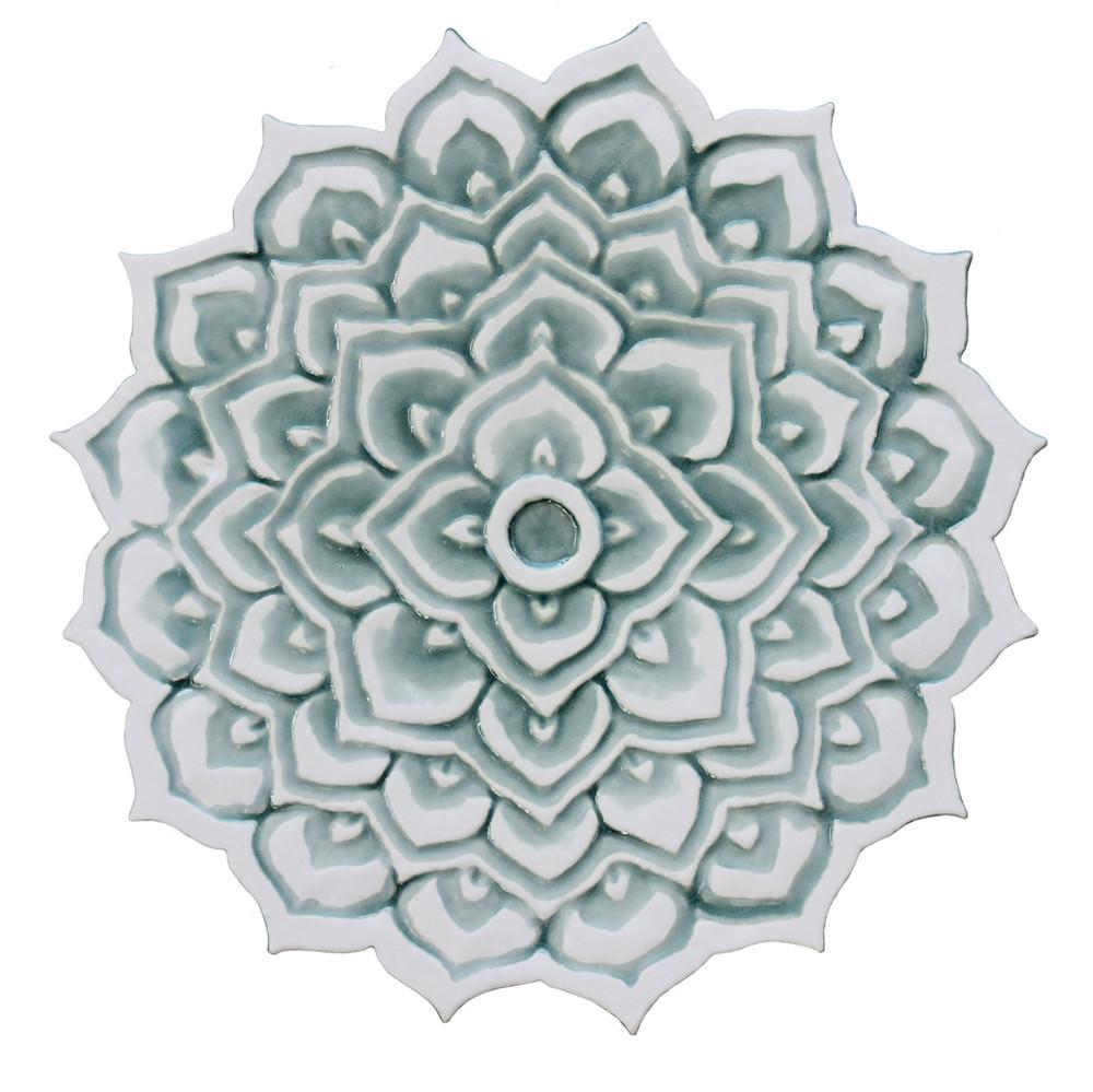 """Mandala ceramic wall art #2/R - Aqua [28cm/11""""]"""