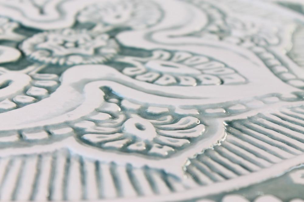Mandala ceramic wall art #5/R - Aqua[28cm]